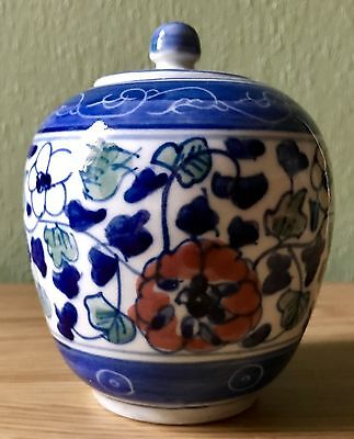 Lovely Antique Small Chinese Spice / Ginger Jar. Hand Thrown & Hand Painted