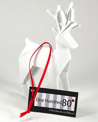 White Porcelain Origami Reindeer Ornament One Hundred 80 Degrees Gift Box NEW