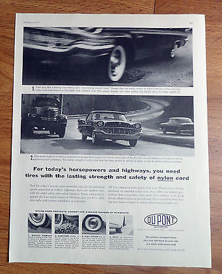 1957 DuPont Nylon Tire Ad  Chrysler Automobile