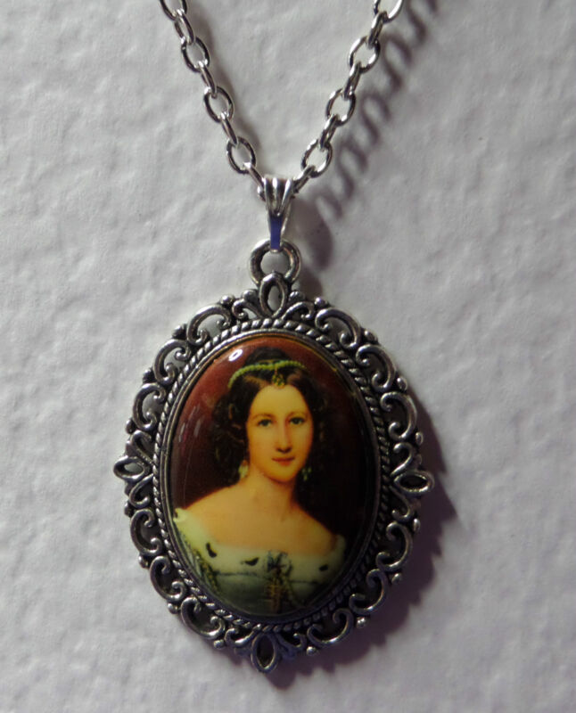 """1.5"""" decal CAMEO LADY ERMINE FUR TRIM VICTORIAN STYLE DK SILVER PLATED PENDANT"""