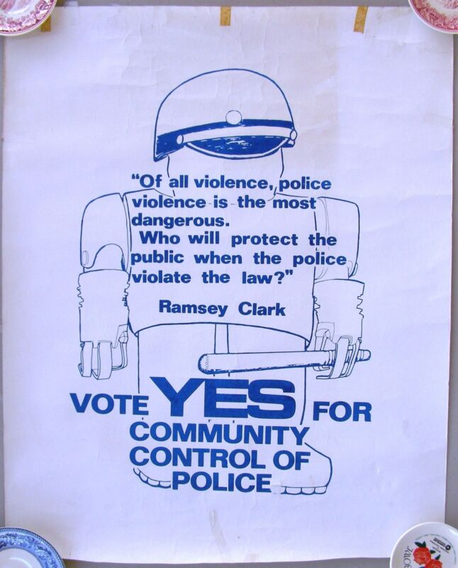 Berkeley Political Poster:Vote For Community Control of Police. Ramsey Clark 70s