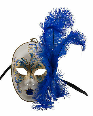 Mask from Venice Face Volto in Feathers Ostrich Golden Blue-Mask Venetian - 1413