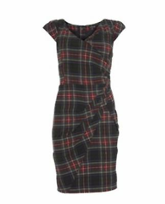 SIZE 10 TARTAN WIGGLE PENCIL DRESS VINTAGE 40s HOLLYWOOD 50s STARLET HOURGLASS