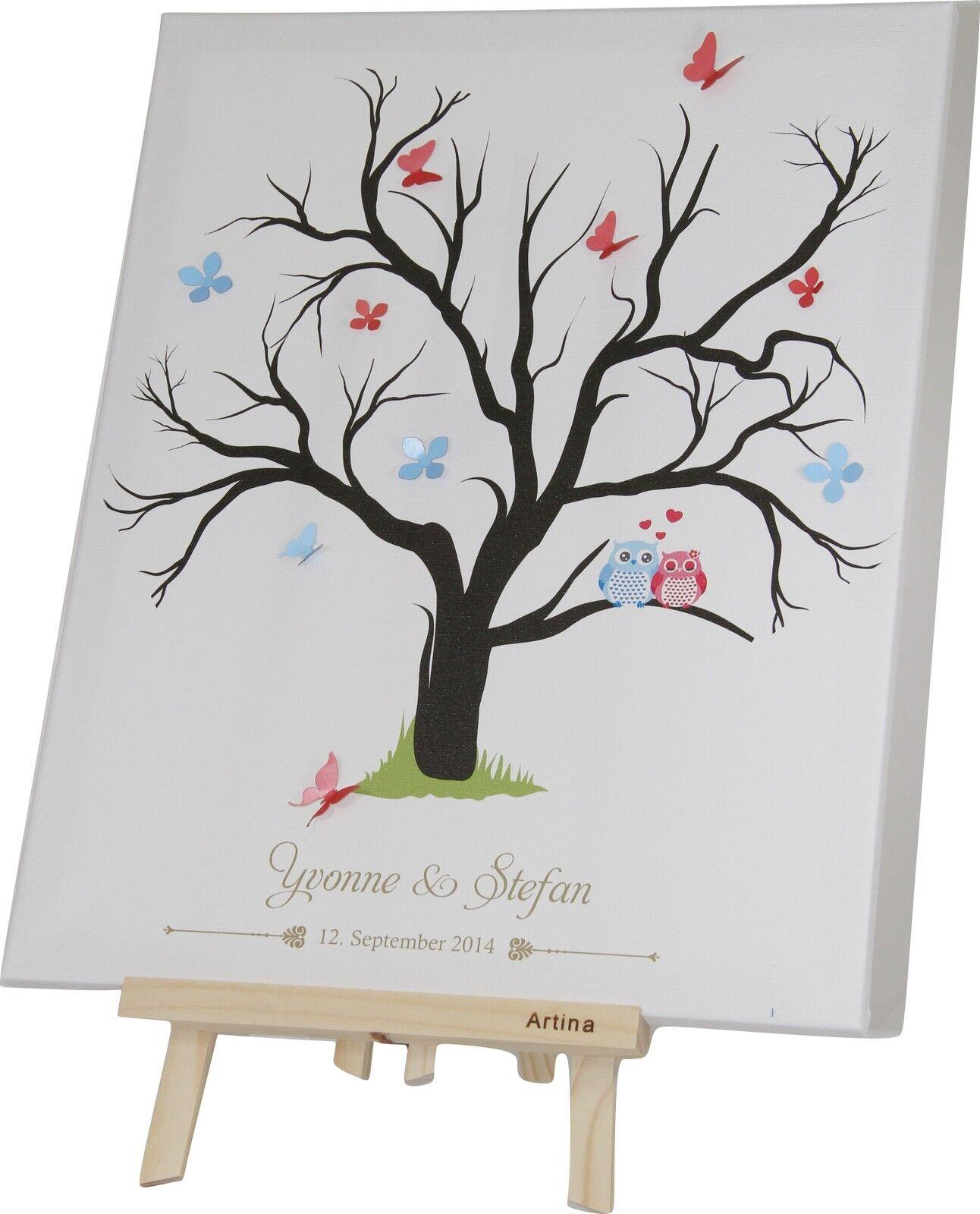 fingerabdruck leinwand hochzeit taufe weddingtree mit namen mit stempelkissen eur 49 90. Black Bedroom Furniture Sets. Home Design Ideas