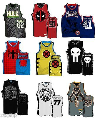 Authentic Marvel Comic Or Star Wars Adult Embroidered Basketball Jersey Shirt