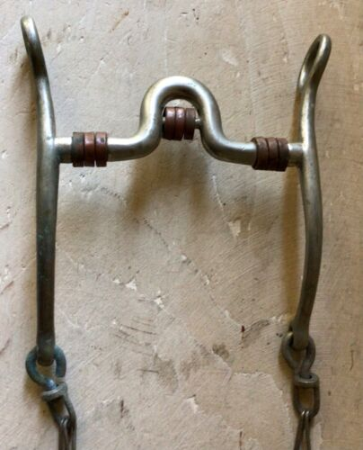 Vintage Buermann Star Steel Silver Curb Bit with Copper Rollers, Rein Chains