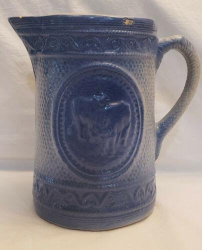 Large Vintage Salt Glaze Blue & White Stoneware Cows Milk Pitcher- circa 1800s