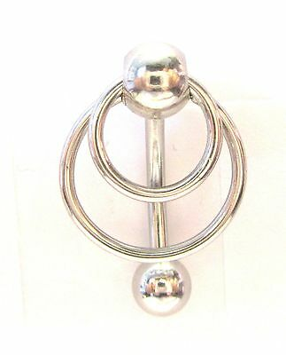 Surgical Steel Double Hoop Dangle Barbell VCH Clit Clitoral Hood Ring 14 gauge