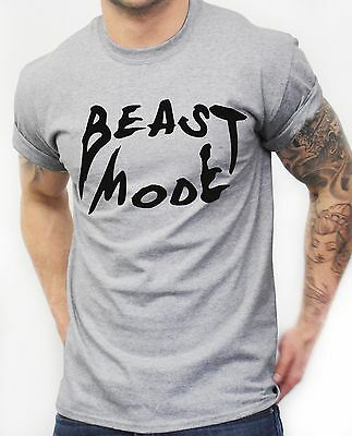 Beast Mode T Shirt Teeth Gym Mens Training Workout Clothing Fit MMA Best