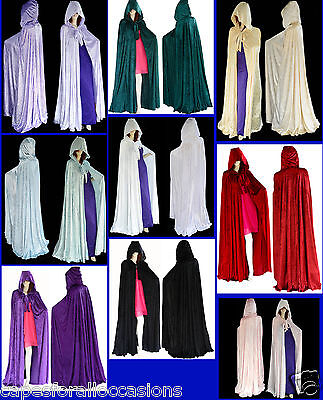 HALLOWEEN BLACK VELVET UN-LINED GOTHIC CLOAK CAPE HOODED WICCA MEDIEVAL LARP SCA - Black Cape Hood