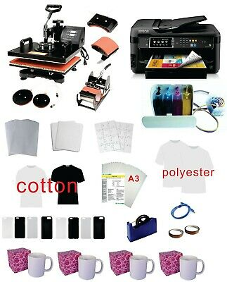 15x15 5in1 Pro Sublimation Heat Press 11x17 Epson Printer 7710 Ciss Kit
