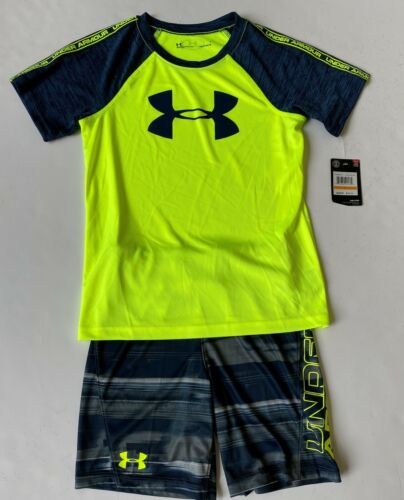 NWT Boy 6 Outfit - Under Armour Tee and Short Set - Neon and Navy Colors