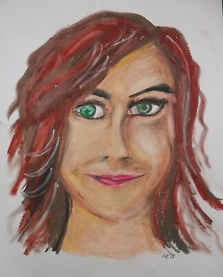 Original Oil Pastel Drawing on Paper 'Redhead' by Michelle Ranson