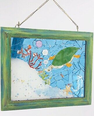 Stained Glass Mosaic Picture Coastal Art Sea Turtle Star Fish Crystal Coral Sand Fish Sand Art