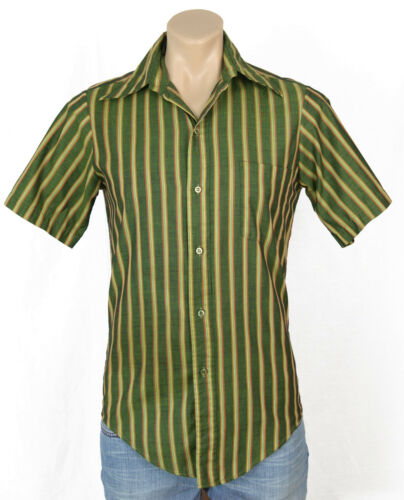 Vtg  60s Mens Green Striped Shirt Button Front Short Sleeve Rockabilly Mid Mod