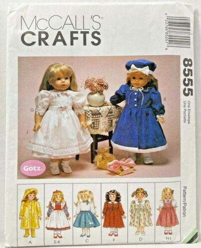 """1996 Vintag McCalls Sewing Pattern 8555 18"""" Doll Wardrobe 8 Outfits Dresses 9362"""