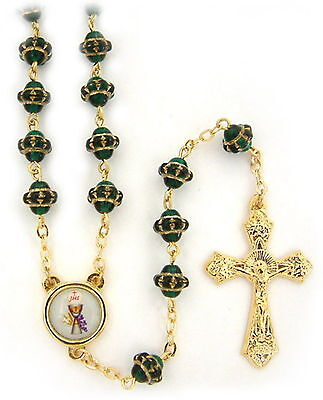 "NEW MADE IN ITALY GREEN GLASS GOLD ""MEDIEVAL"" STYLE BEAD ROSARY CHALICE CENTER"