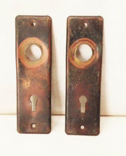 Vtg antique brass mortise lock door handle knob backplate set
