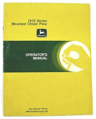 John Deere 1610 Series Mounted Chisel Plow Operators Manual Omn159458 Issue H9