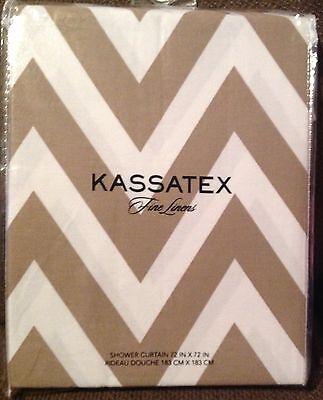 Kassatex FABRIC CHEVRON SHOWER CURTAIN Linen (Taupe) / White Chevron NEW Cortina