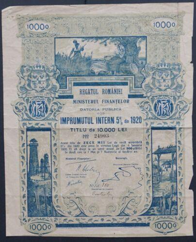 Romania - Romania State Internal Loan - 1920 - 5% bond for 10000 Lei