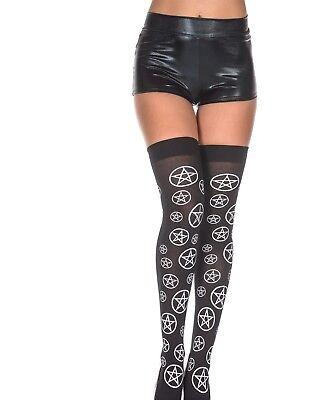 Pentagram Thigh-HI   Halloween Goth Punk Rave Tights Pantyhose Hosiery  - Hi Halloween