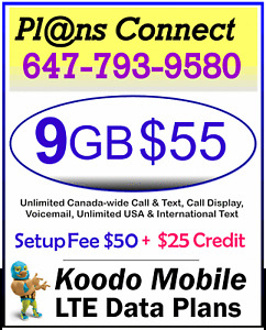 KOODO - 4gb for $49, 9gb for $55 LTE Data ($50 fee / $25 Credit)