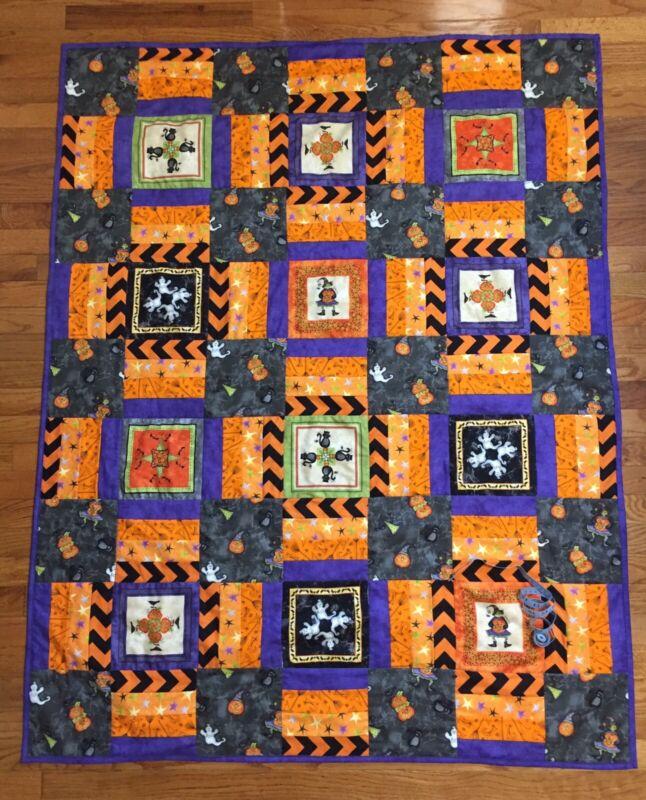 New Handmade Quilt Blanket Throw 100% Cotton  Halloween Witches Ghosts Purple