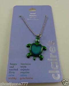 turtle mood necklace silver tone claires 16 in chain honu