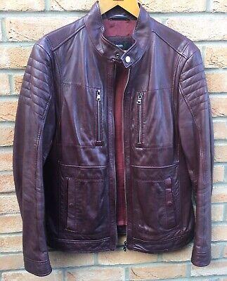 Hugo Boss 100% Soft Lamb Leather Jacket Naquinn Biker Size 48