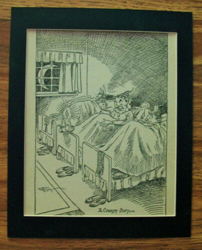 Print Elves Jeff Cook A Scarey Story Creepy 1930s Bookplate 8x10 Matted Cutie