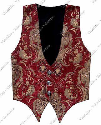 Victorian Steampunk Edwardian Western Red Gold Brocade Gothic Men's Vest
