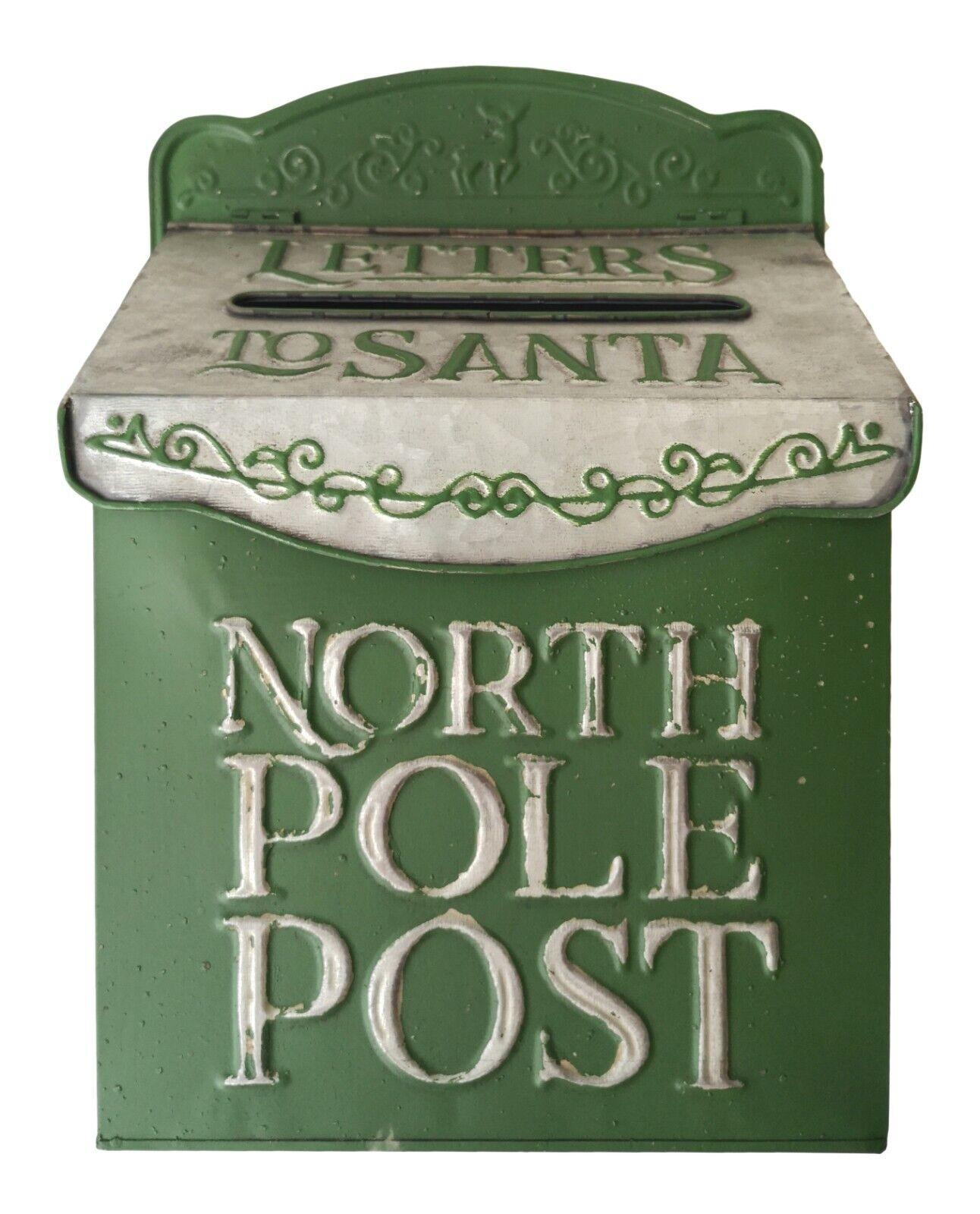 "Green Shabby Chic /""Letters To Santa North Pole Post Box/"" Retro Wall Letterbox"