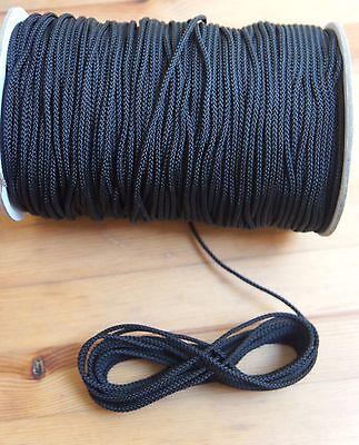 4MM Black Draw string Braided Cord x 10 meters