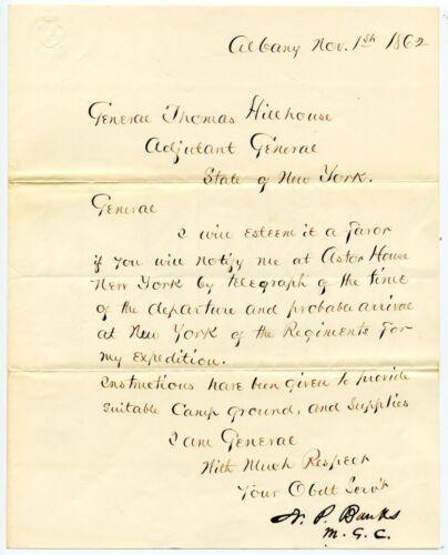 NATHANIEL P BANKS, Union General, Civil War-Date Letter Signed/Autograph 8290