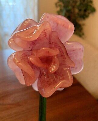 """HANDCRAFTED Blown ART GLASS Flower Figurine Long STEM 12"""""""