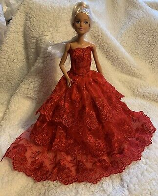 Handmade/BARBIE DOLL Valentine Red- EVENING GOWN Color/Lace Overlay Dress