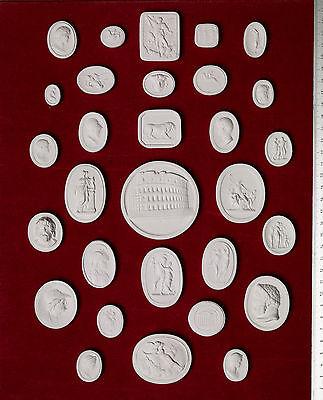 #6. 30 Grand Tour Cameos plaster intaglio Gem Medallions seal Classic Impronte