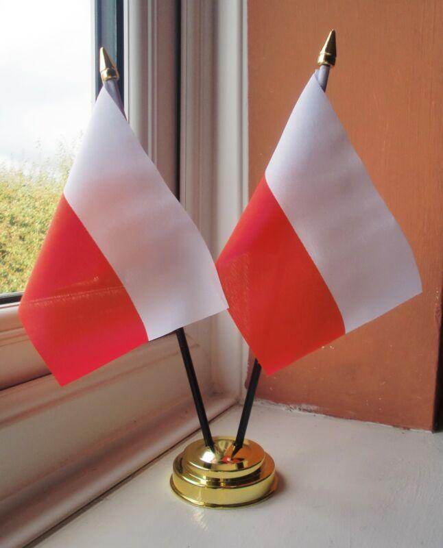 POLAND X2 TABLE FLAG SET 2 flags plus GOLDEN BASE POLISH