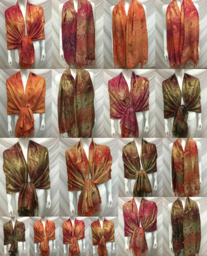 WHOLESALE 6PCS $5.00 EACH 2PLY THICK METALLIC PASHMINA CASHMERE WRAP SCARF
