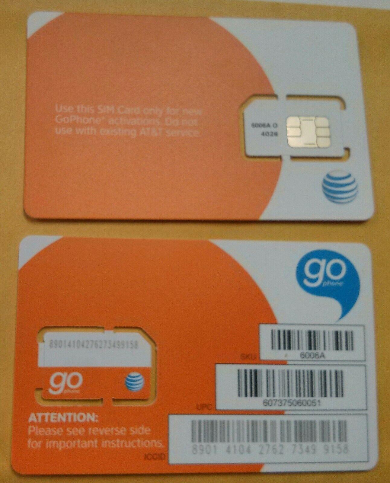 как выглядит SIM-карта для мобильного телефона NEW AT&T PREPAID/POSTPAID 3G SIM CARD. SKU 73043 Unactivated фото