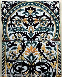 Sale Moroccan Art Tile Mural Kitchen Backsplash Ceramic Mediterranean 12.75 x 17