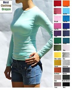 Women-Junior-Plain-Basic-LONG-SLEEVE-Stretch-T-Shirts-Solid-Cotton-Crew-neck-Top