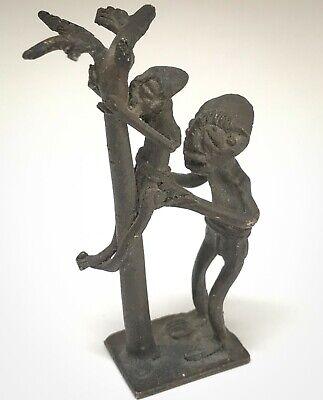 Antique African ASHANTI / AKAN cast bronze figure of a MAN - Gold Weight 6.5cm