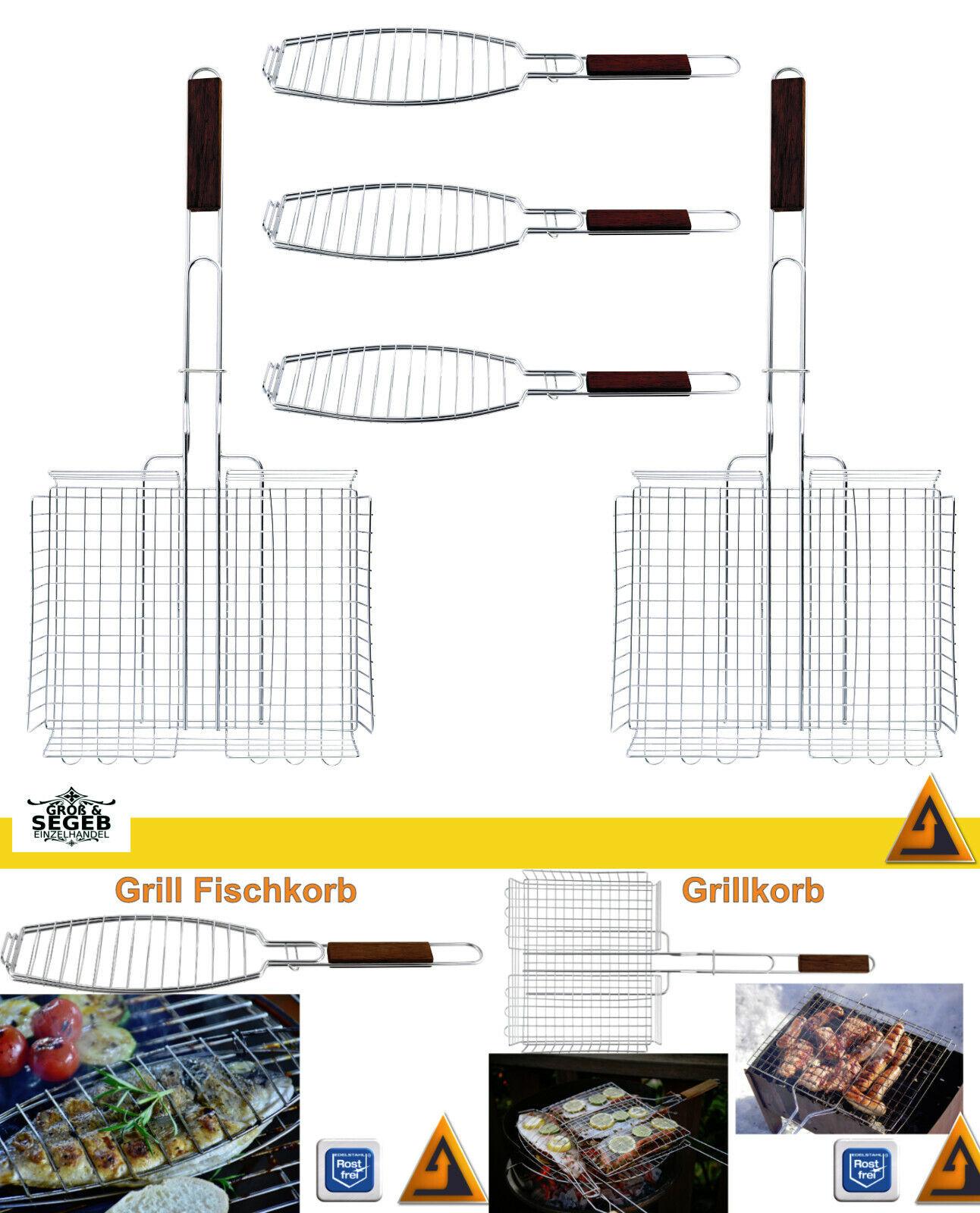 Grillkorb Edelstahl Fisch Bratenkorb Grillkäfig BBQ Fischkorb Grill Wender Set