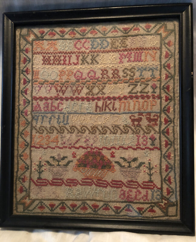 1800s Schoolgirl Sampler Embroidery UK or Scotland Conserved Wool Acidfree Mount