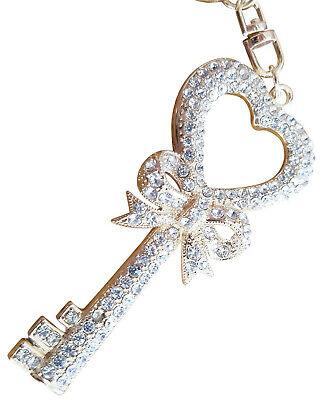 Key of Heart Bling Crystals Rhinestone Keychain Ring Holder ELEGANT #C](Bling Keychains)
