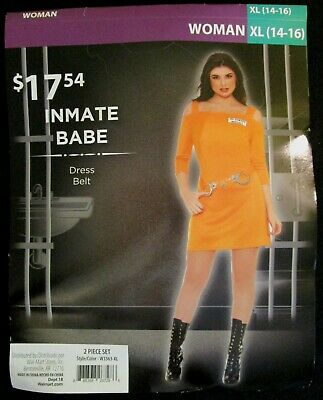 Prison INMATE BABE Halloween Dress Costume * Size EXTRA LARGE 14-16 * Brand New - Make Costumes