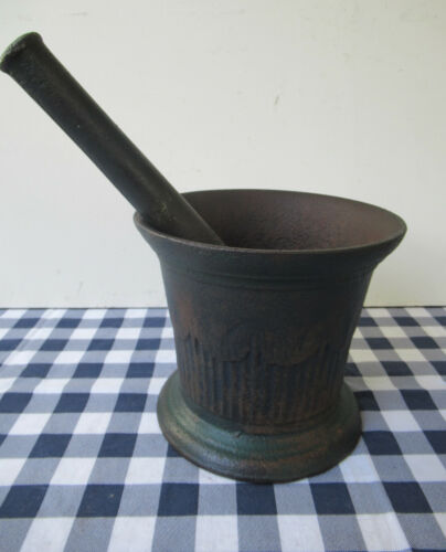 Antique & Mortar Pestle Cast Iron Apothecary Drug Medicine, Green Paint, 1840-70