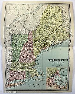 Original 1883 Map of New England and Long Island by J Bartholomew